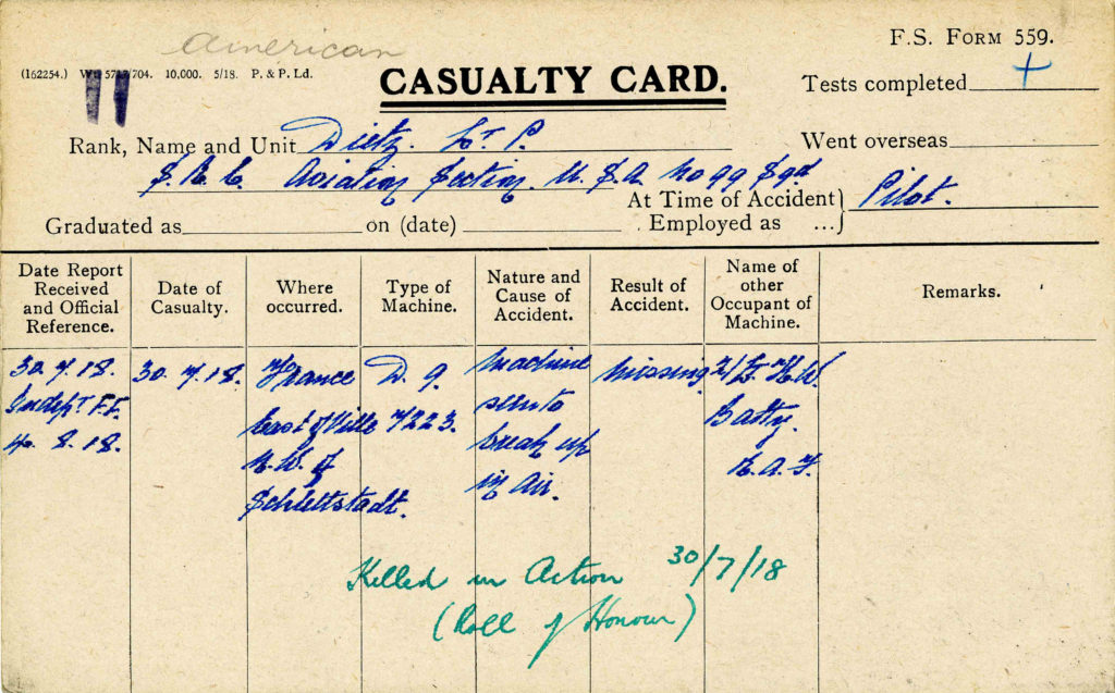 A printed card with details of Dietz's crash handwritten in.