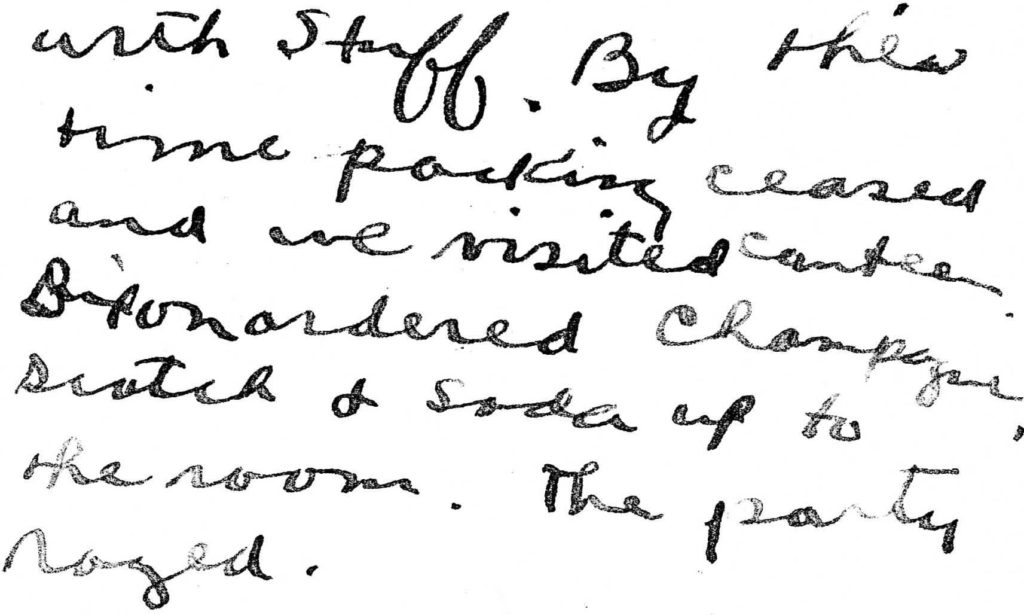 A brief passage from Foss's handwritten diary about Dixon ordering champagne etc.