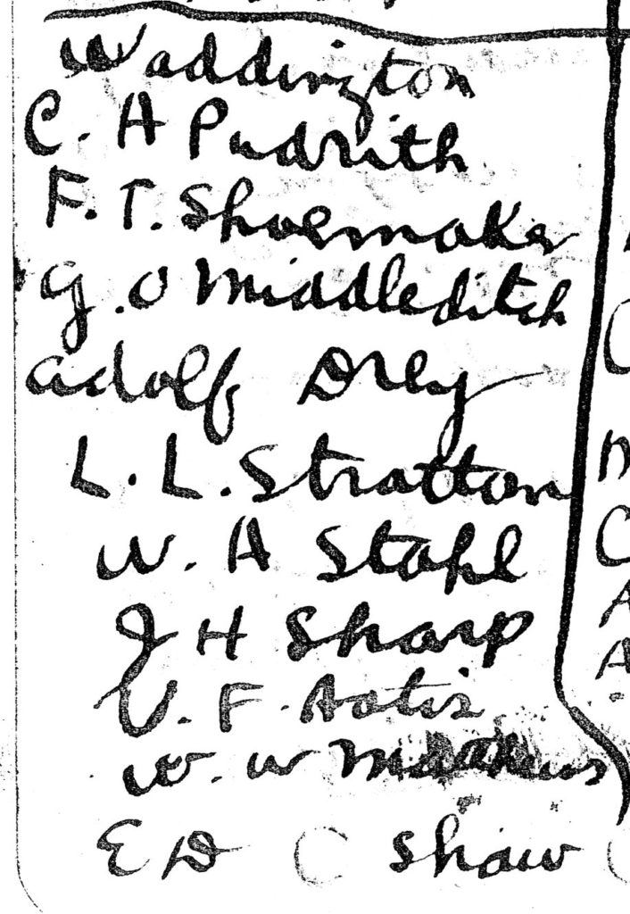 "A handwritten list of ten names under the heading ""Waddington."""