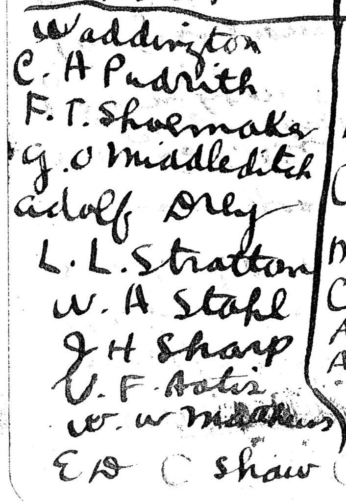 """A handwritten list of ten names under the heading """"Waddington."""""""