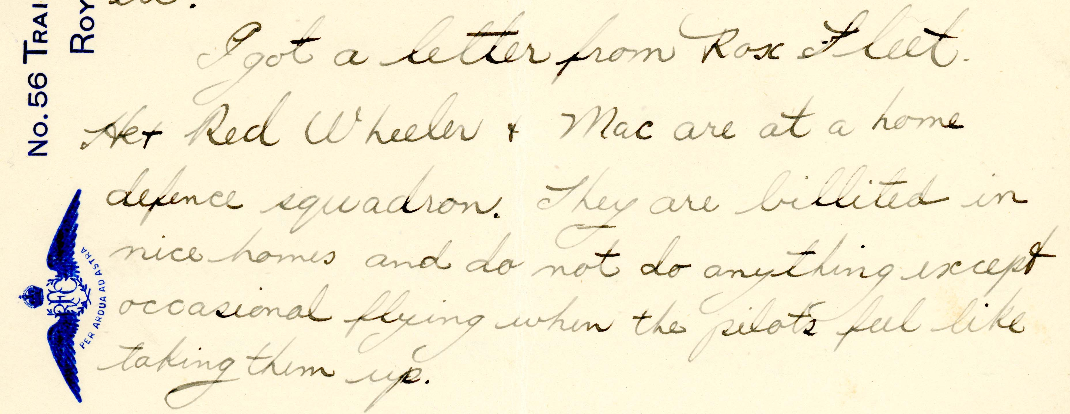 A portion of a letter by Hooper, who writes that Fleet, Wheeler, and Maloney are at a home defense squadron.