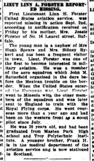 """A newspaper clipping titled """"Lieut. Linn A. [sic] Forster Reported Missing."""""""