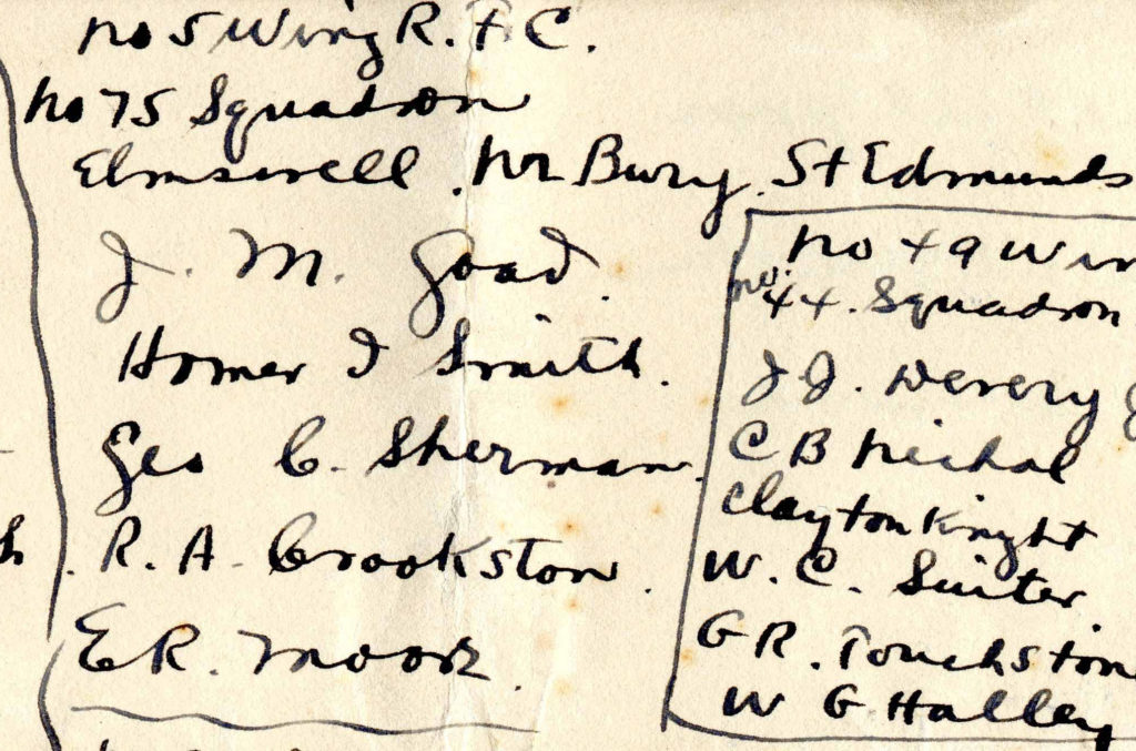 A portion of Foss's list of who was posted where on December 3, 1917, showing the men who went to Elmswell.