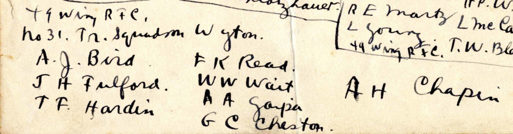 The bottom portion of Foss's list of who was posted where on December 3, 1917, showing the men who went to Wyton.