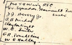 "A handwritten list headed ""No. 49 Wing RFC, No. 44 Squadron Hainault Farm Essex"" followed by the names of six cadets."
