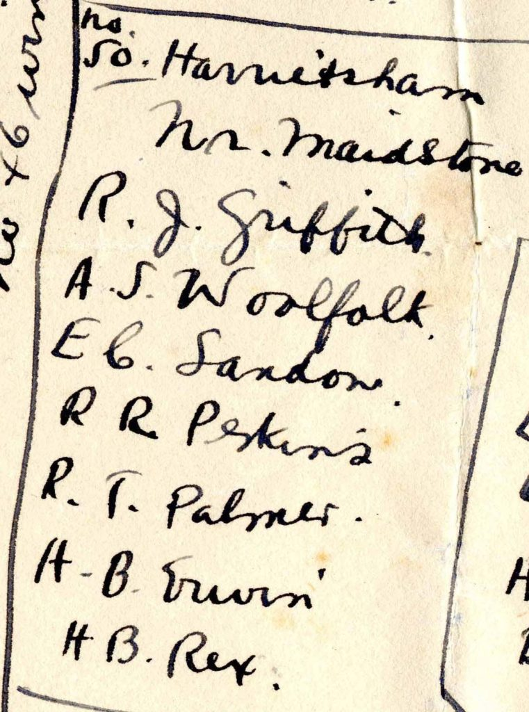 "A handwritten list of seven names under the heading ""No. 50 Harrietsham."""