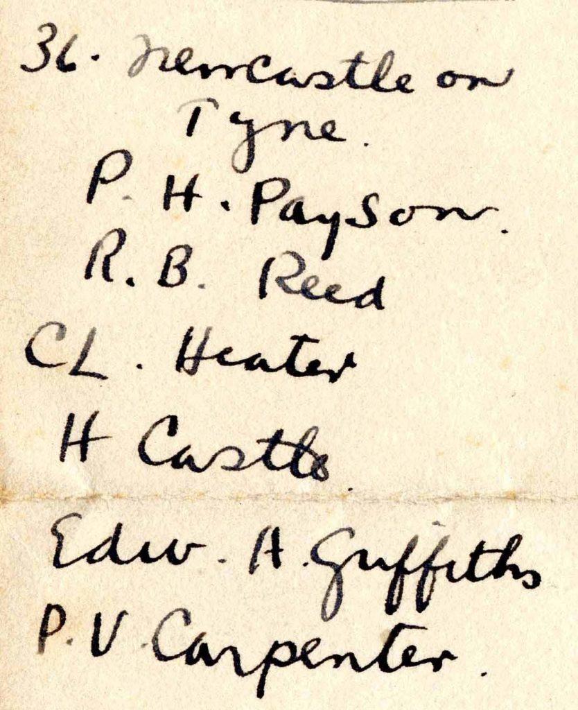 "A handwritten list of names headed ""36. Newcastle on Tyne."""