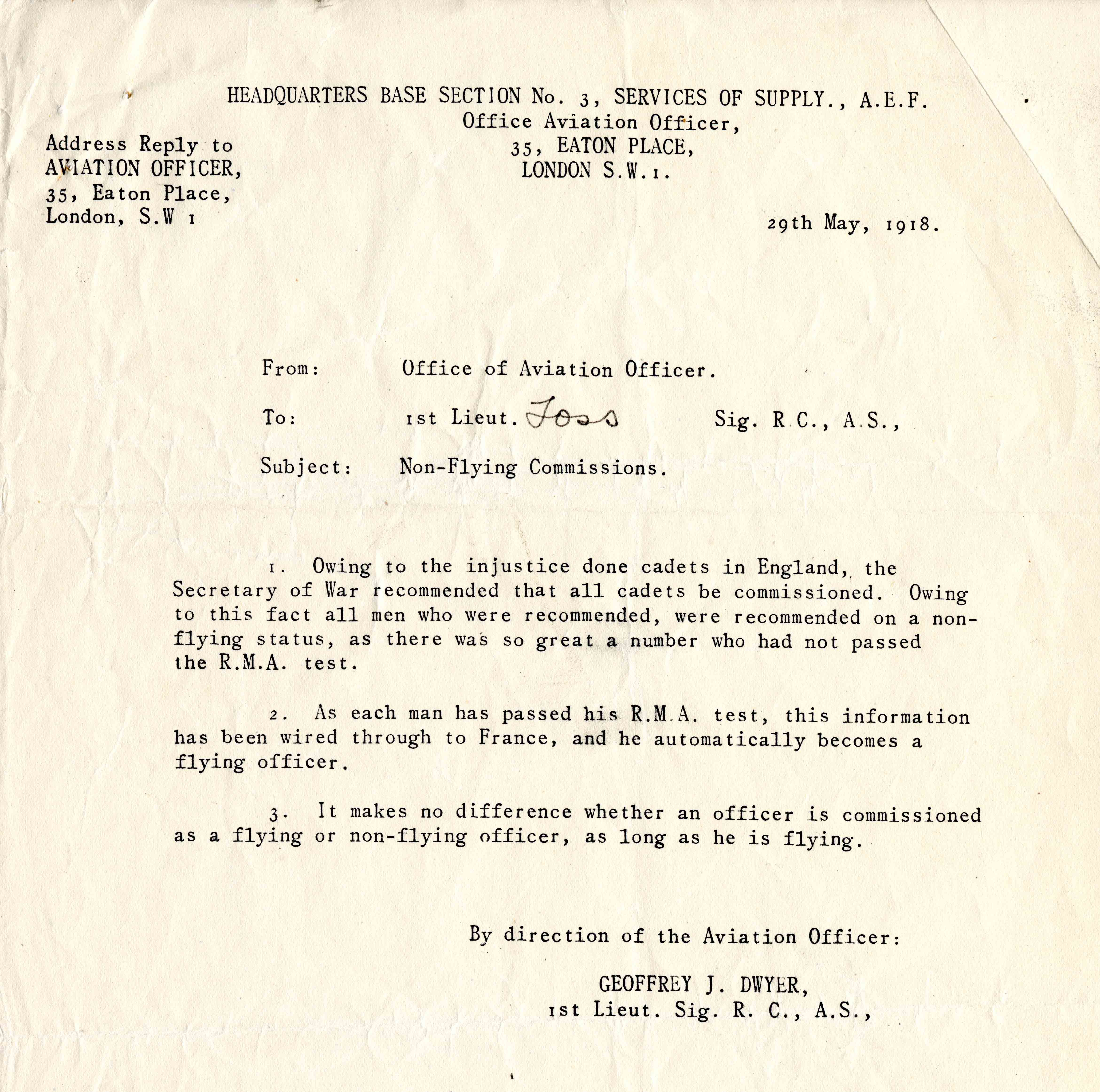 A typed memo from Geoffrey J. Dwyer to 1st Lt. Foss regarding non-flying commissions.
