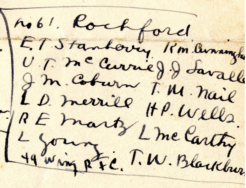"Portion of handwritten page. The portion is headed No. 61 Rochford and lists twelve names: E. T. Stanberry, U. T. McCurrie, J. M. coburn, L. D. Merrill, R. E. Martz, L. Young, R. M. Cunningham, J. J. Lavalle, T. M. Nail, H. P. Wells, L. McCarthy, T. W. Blackburn. At the bottom is the notation: ""49 Wing R.F.C."""
