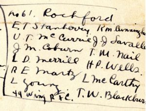 """Portion of handwritten page. The portion is headed No. 61 Rochford and lists twelve names: E. T. Stanberry, U. T. McCurrie, J. M. coburn, L. D. Merrill, R. E. Martz, L. Young, R. M. Cunningham, J. J. Lavalle, T. M. Nail, H. P. Wells, L. McCarthy, T. W. Blackburn. At the bottom is the notation: """"49 Wing R.F.C."""""""