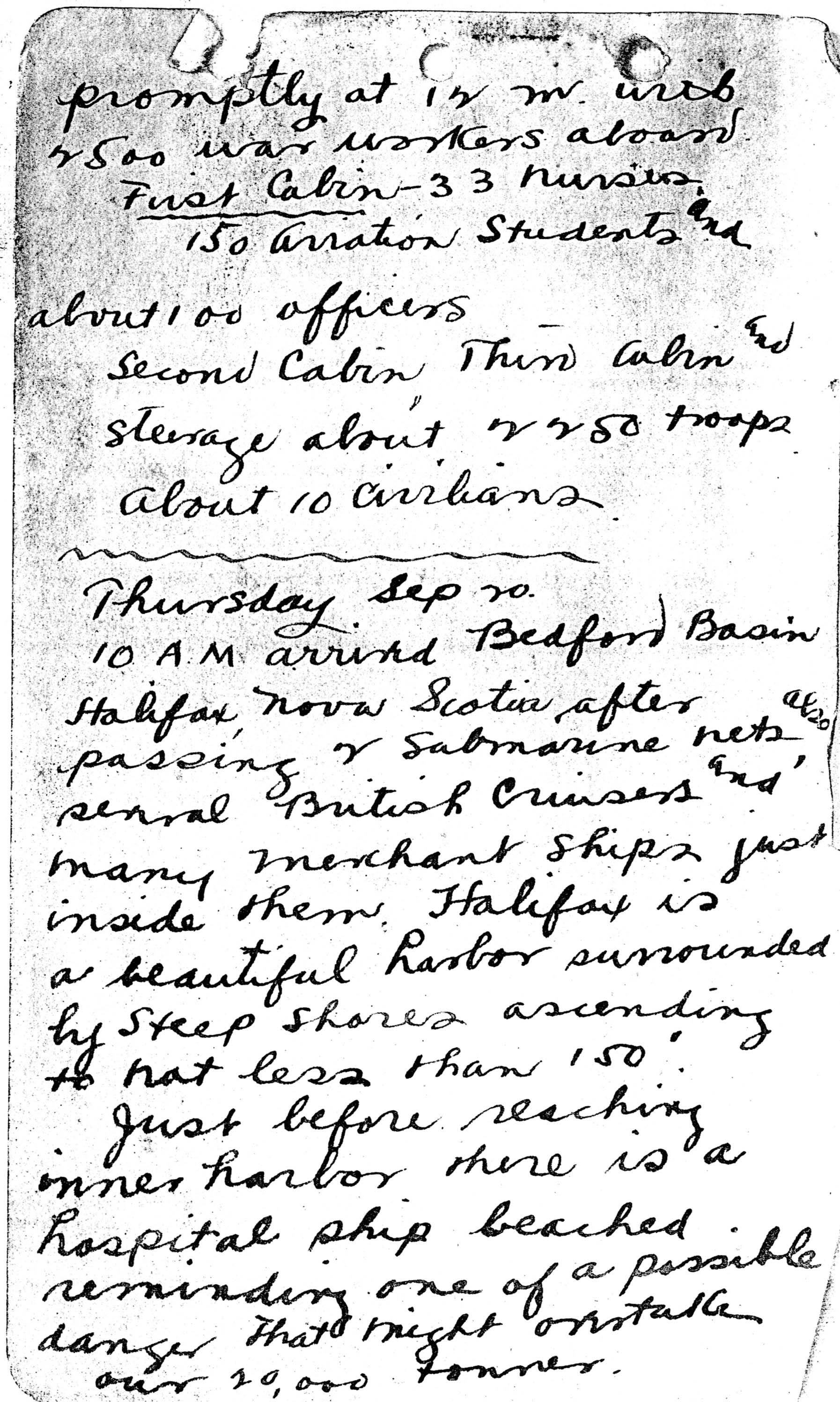 A handwritten page, the first page of Foss's diary that has been preserved.