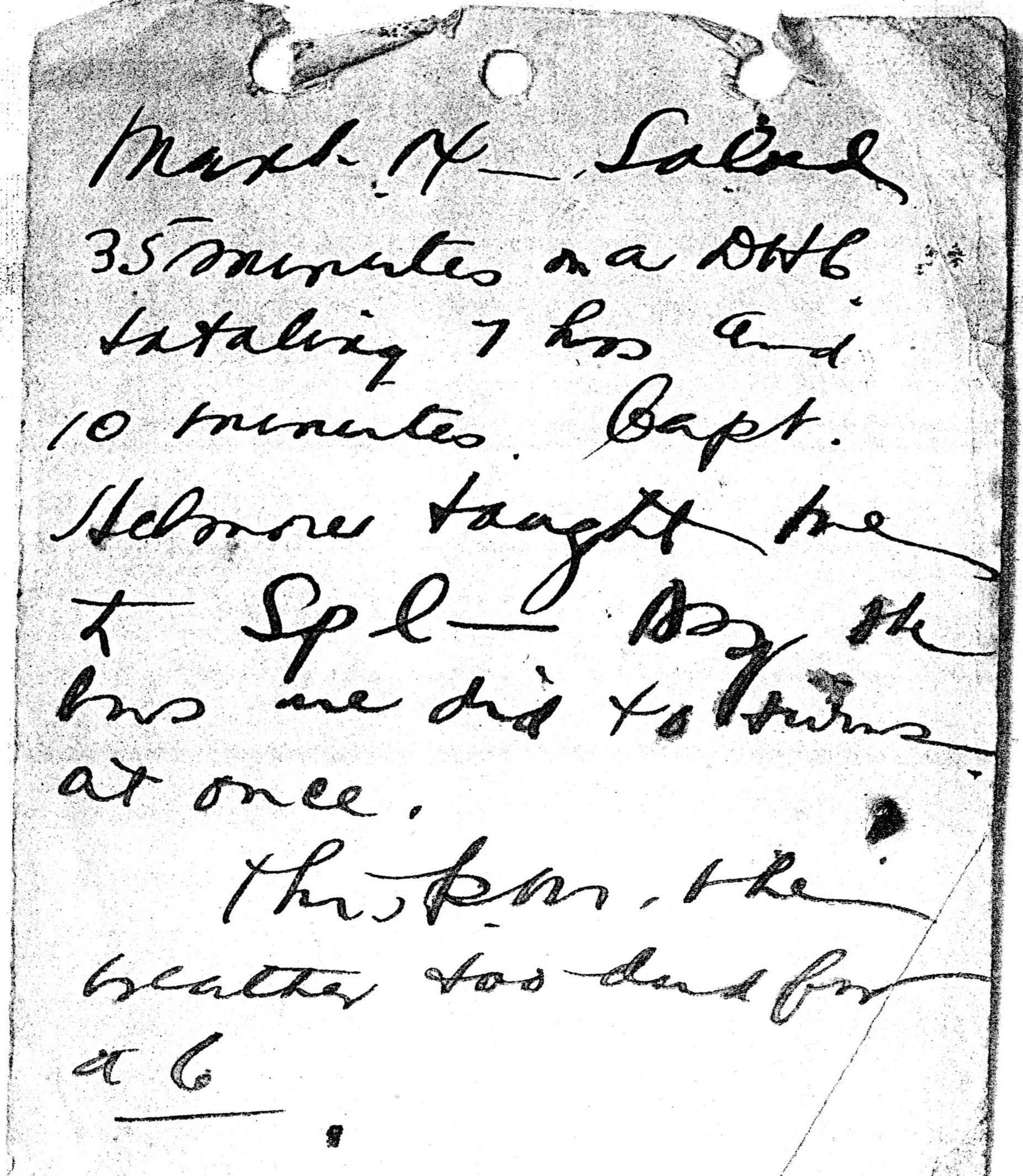 A page from Foss's diary dated March 13.