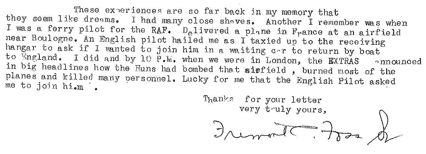 The last paragraph of the letter (typed) that Foss wrote to Richard Calow, with Foss's handwritten signature.