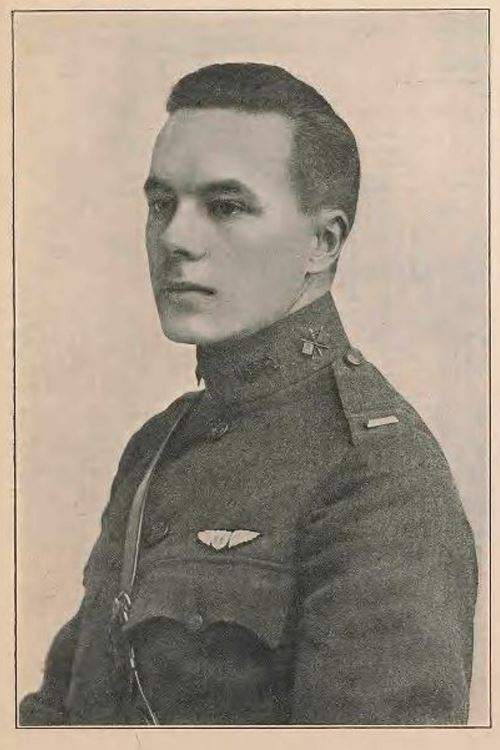 A portrait of Frost in uniform with a lieutenant's bar visible on his left shoulder and with his pilot's wings above his left breast pocket.