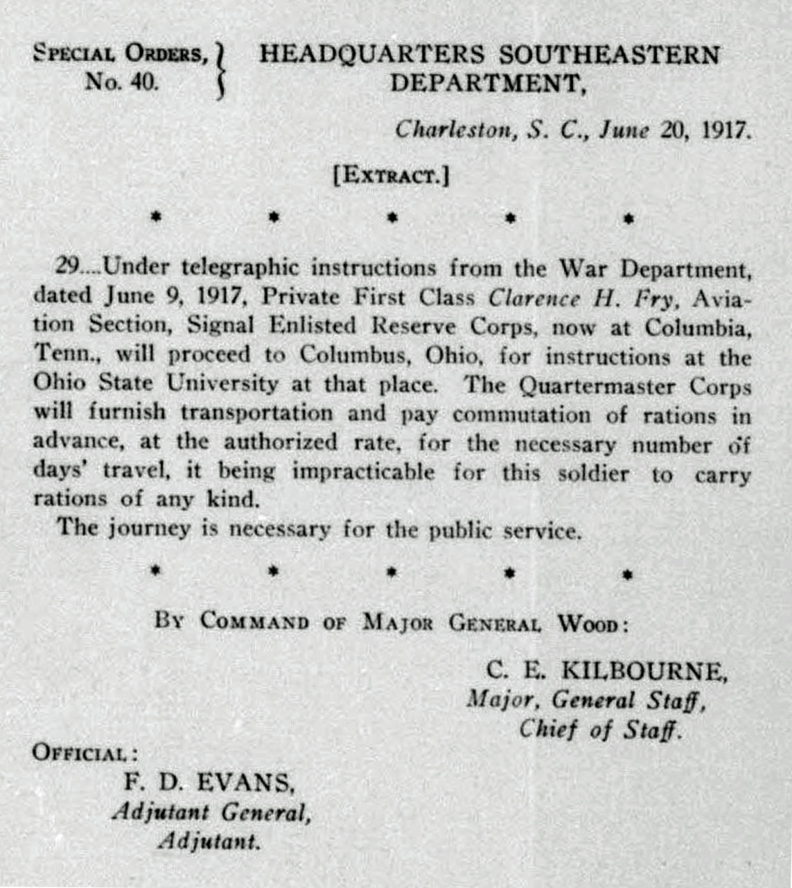 A printed page with orders dated June 20, 1917, for Fry to report to the Ohio State University School of Military Aeronautics.
