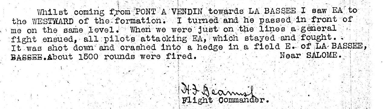 """The typed narrative from a combat report with the signature """"H. F. Beamish, Flight Commander."""""""