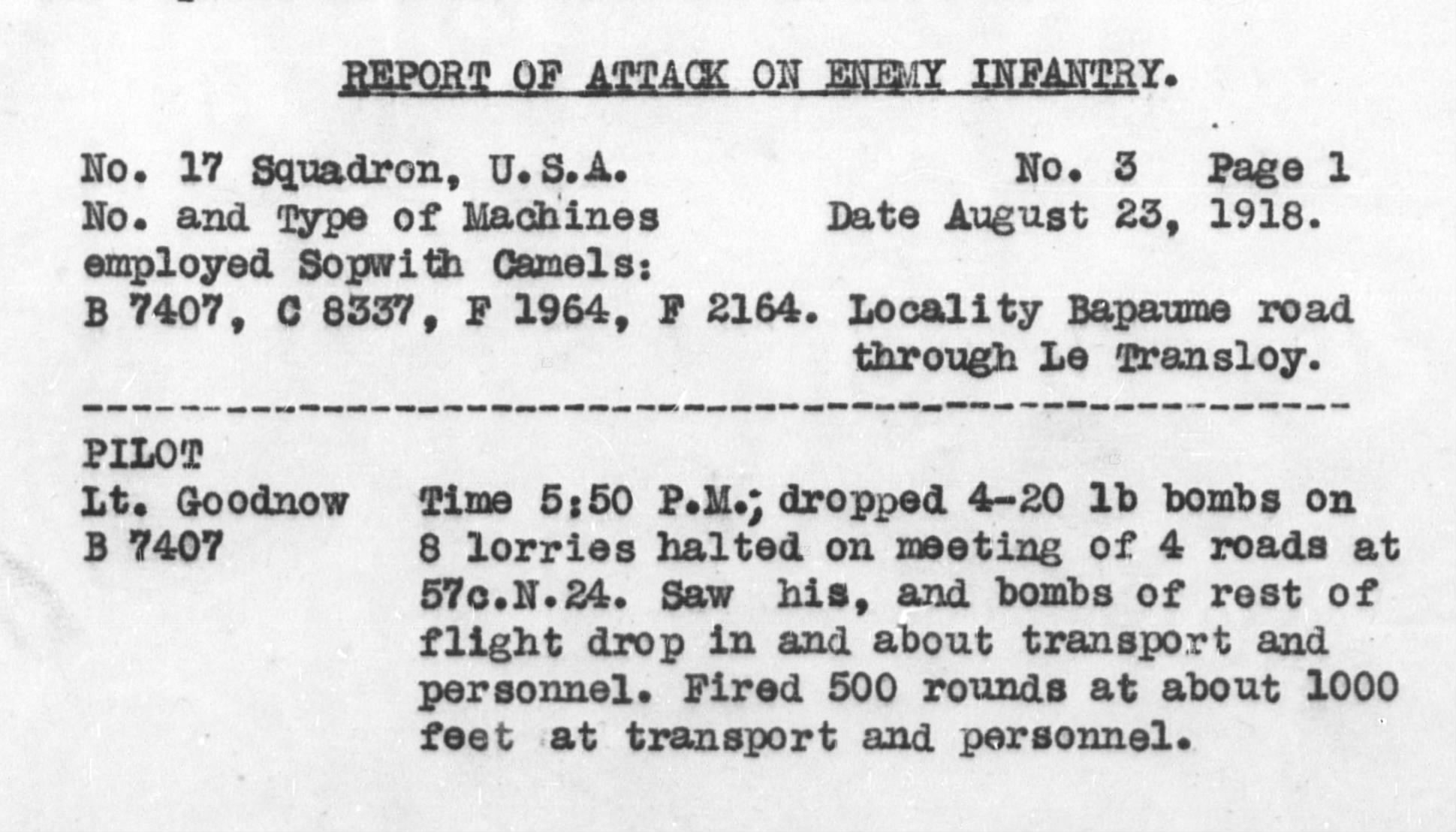 First part of a typed bombing report for August 23, 1918, with account of Goodnow's activity.