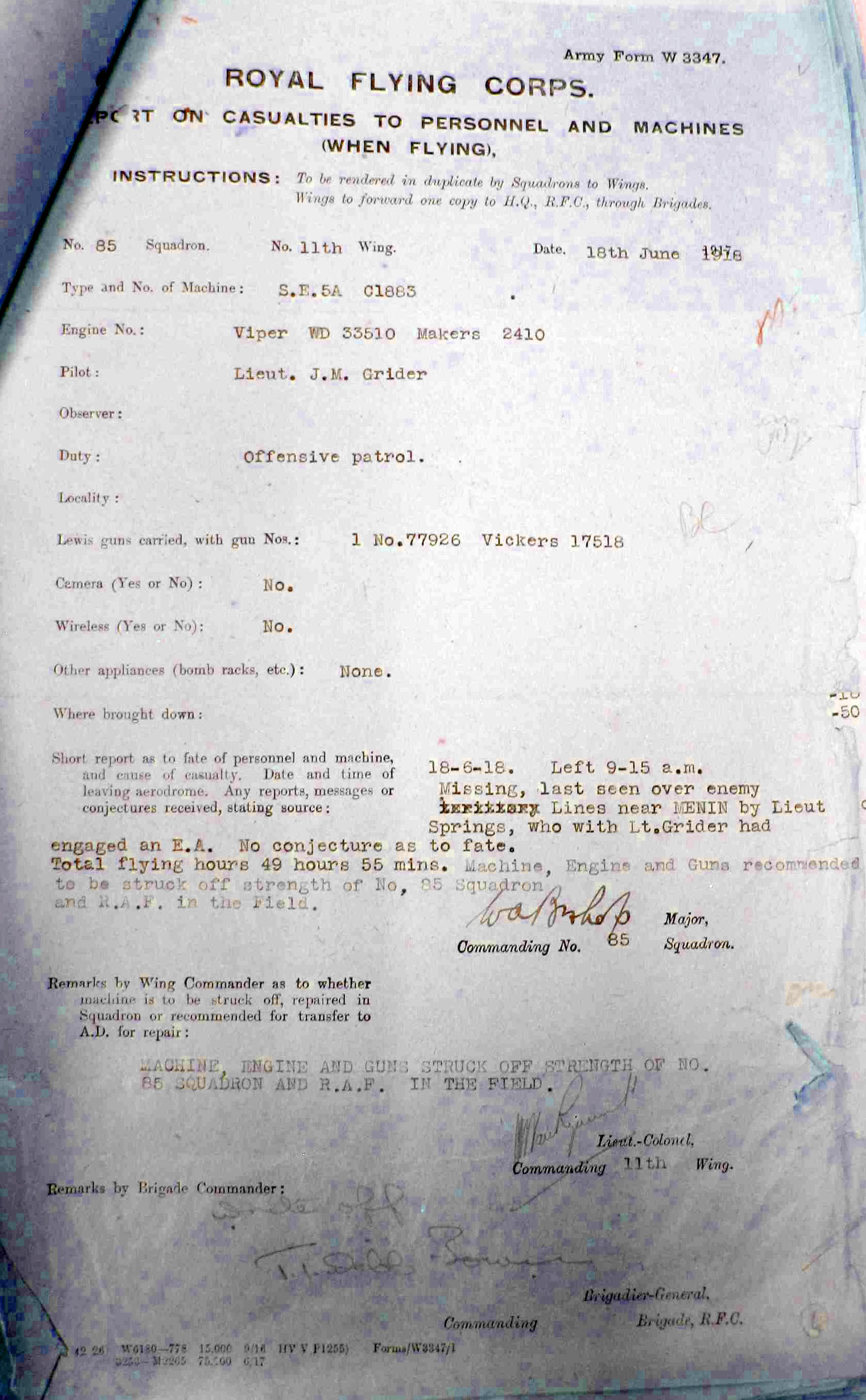An RFC form, Report on Casualties to Personnel and Machines with information typed in about Grider and the disposition of his SE5a.