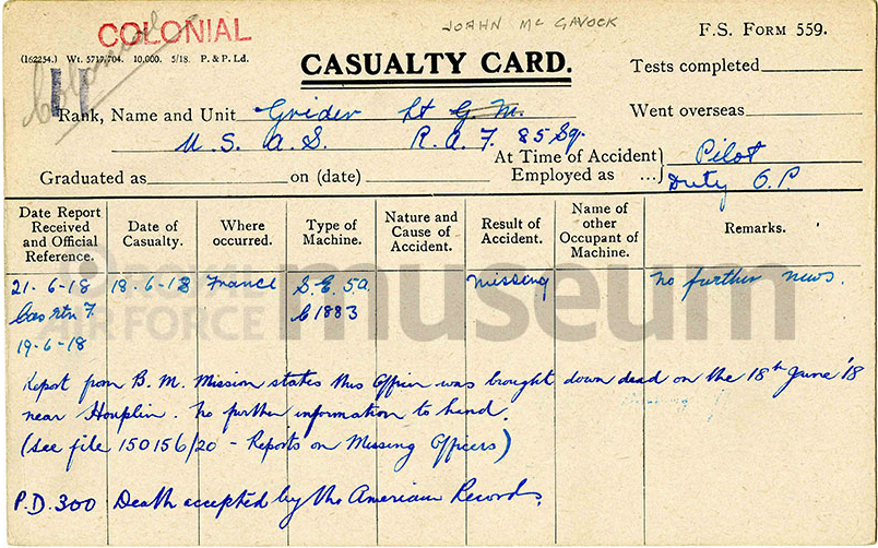 """A printed """"Casualty Card,"""" filled in in blue ink with information about Grider's being missing."""