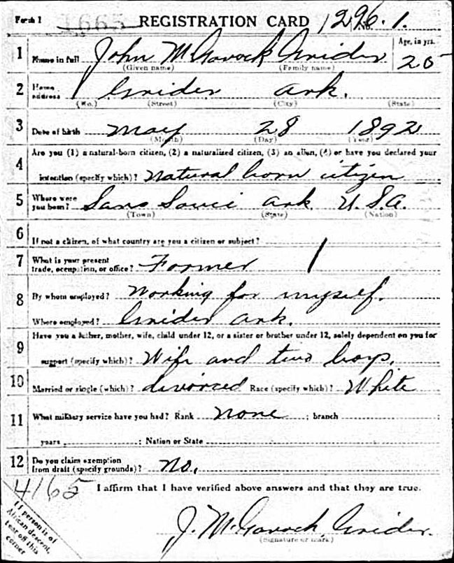 The front of a draft registration form, filled in by hand.