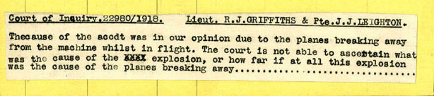A typed text of the court of inquiry for Griffith and Leighton pasted to the back of a yellow casualty card.