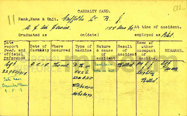 "A typed note card with the title ""Casualty Card"" with information about Griffith's crash filled in by hand."