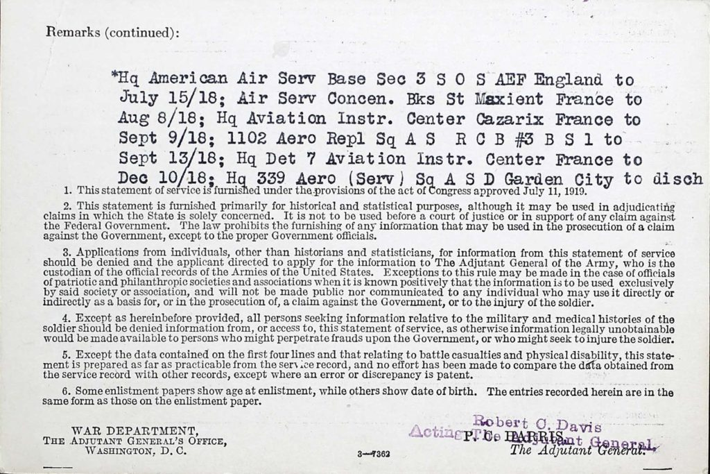 A printed card with information on some of Hagan's World War I service typed in at the top.