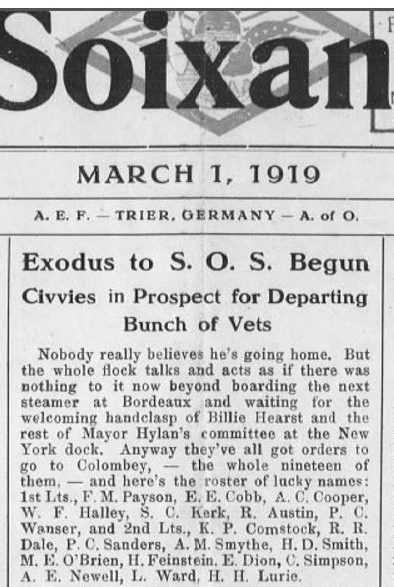 "A newspaper clipping from March 1, 1919, titled ""Exodus to S.O.S. Begun."""