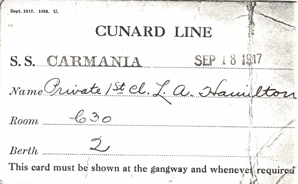 Hamilton's boarding pass, dated September 18, 1917, for the Carmania.