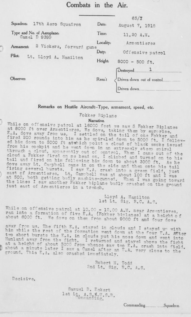 A typed combat report for Hamilton's combat on August 7, 1918.