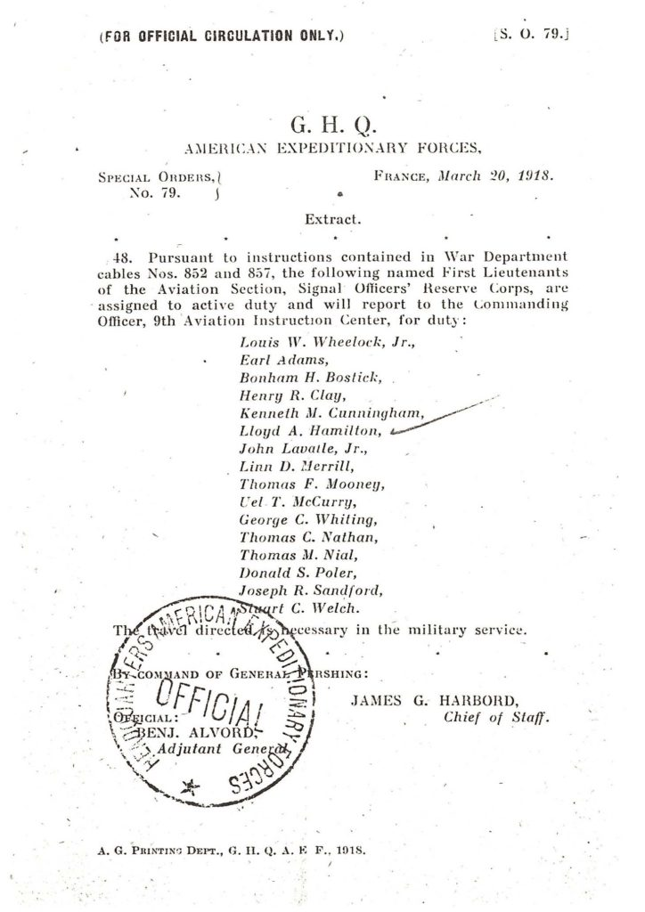 A printed page with Special Orders 79, indicating the date when Hamilton and others were considered to be on active duty.