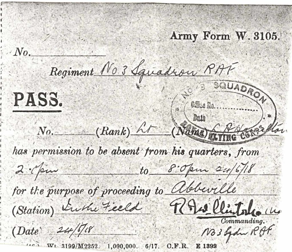 A printed army form filled in in ink; it is a six hour pass for Hamilton to Abbeville for May 24, 1918.