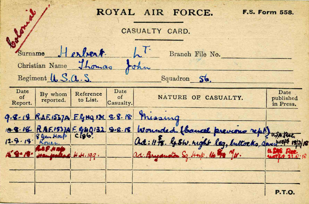 A casualty card for Herbert, note card size, with information filled in in blue and red ink relating what happened to him subsequent to his crash.