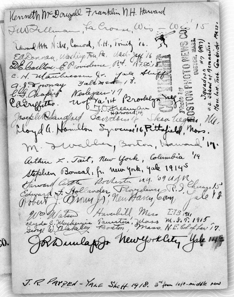 The back of a photo with signatures of men in the photo, with their addresses (or home towns), colleges and graduation years.