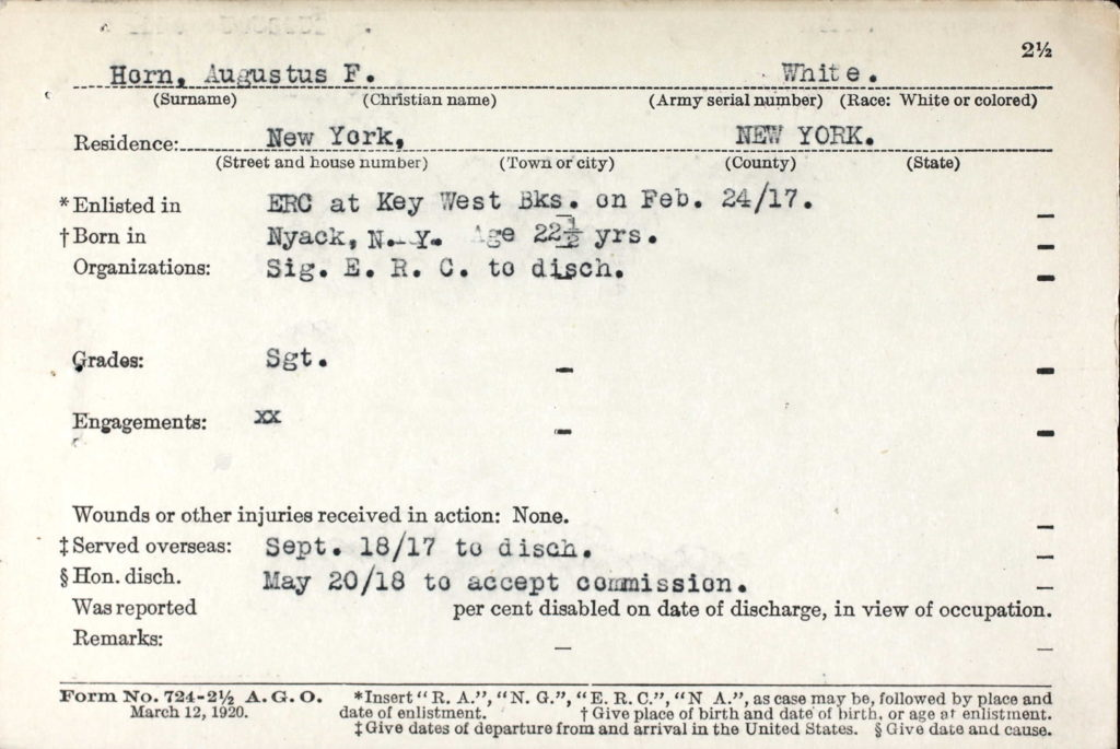 A printed card with typewritten information about Horn.