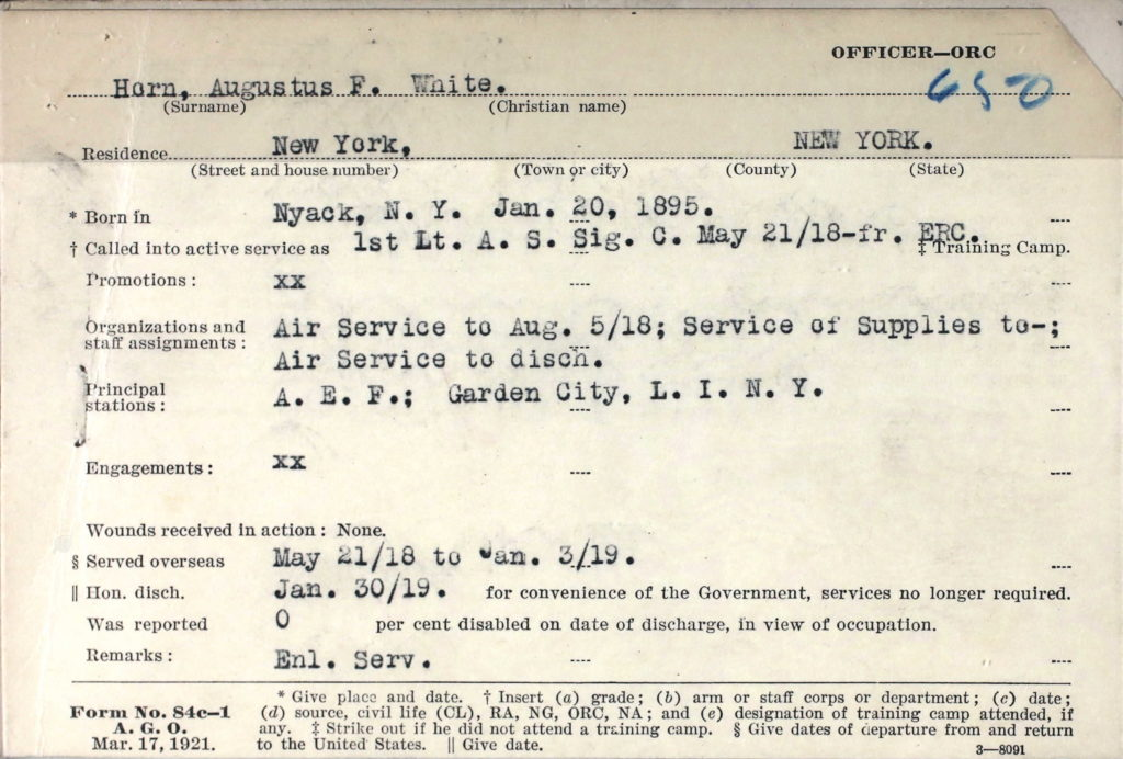 A printed card with information about Horns military service typed in.