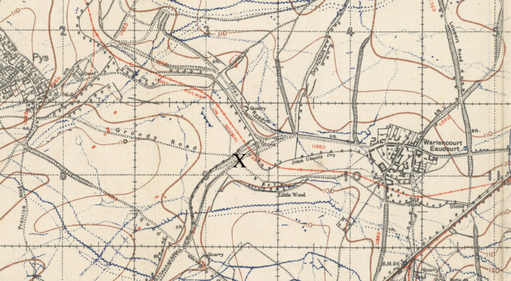 Detail from a map, with an X marking a spot about halfway between the French towns of Pys and Warlencourt.