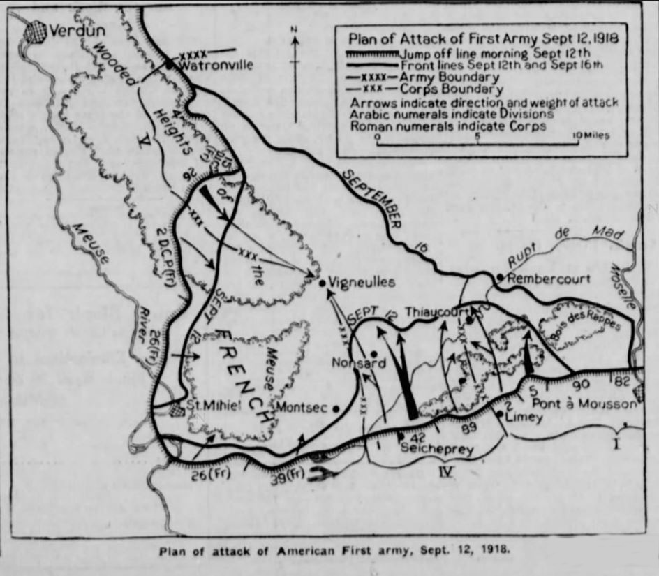 "A map labelled ""Plan of attack of Americah First army, Sept. 12, 1918."""