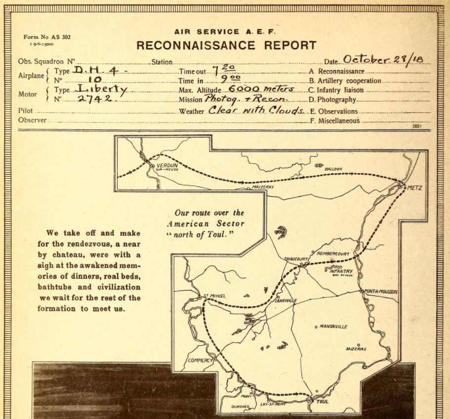 The upper half or so of a page from a printed book. At the top is the partially filled in header from a reconnaissance report. The middle right of the page has a map of the area of France stretching from Toul in the southeast to Verdun in the northwest and, using a dotted line, shows a possible route for a reconnaissance flight.