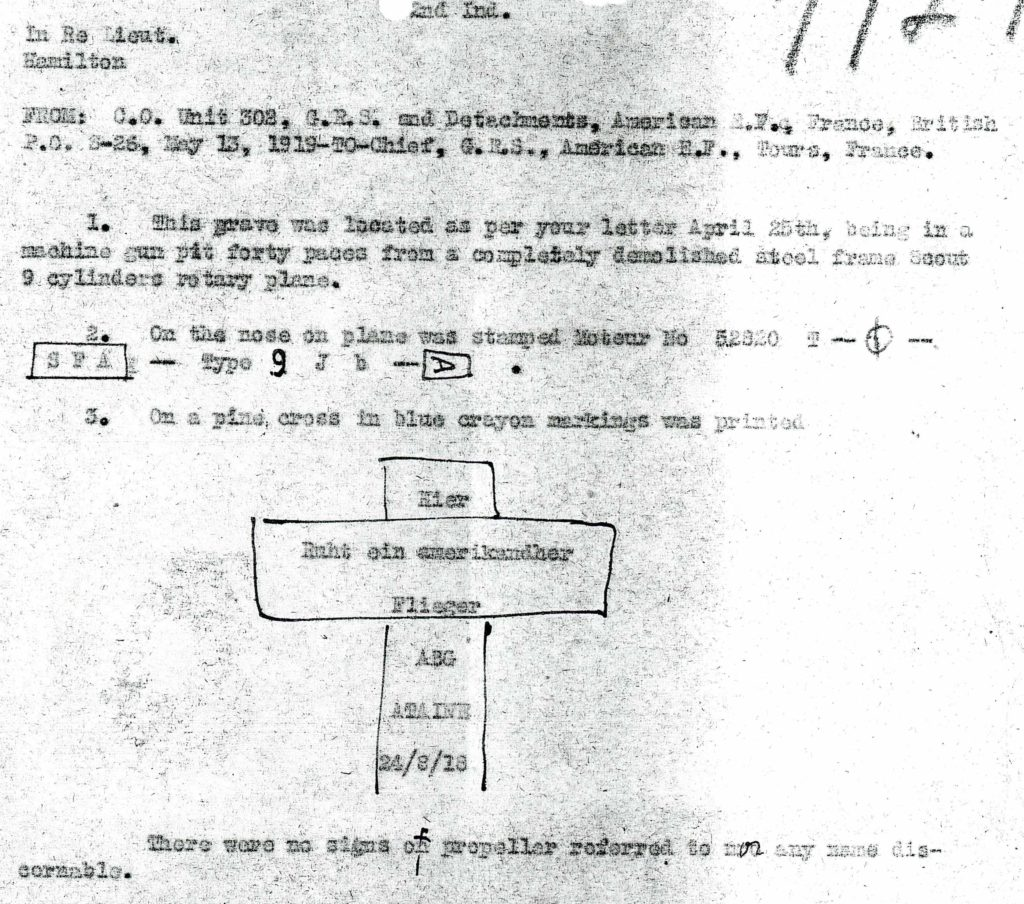 A portion of Tompkins's memo to Pierce regarding finding Hamilton's grave; it includes a crude outline of a cross with an inscription in German.