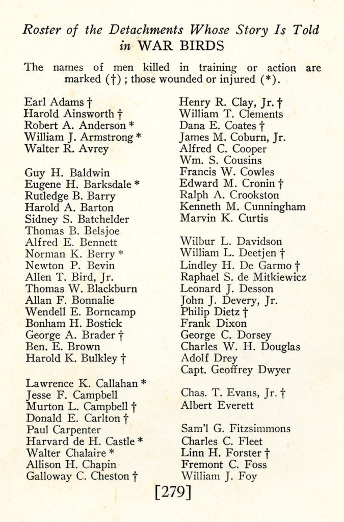 Page from War Birds with an alphabetical list of names running from Earl Adams to William J. Foy. Crosses mark those killed, asterisks those wounded.